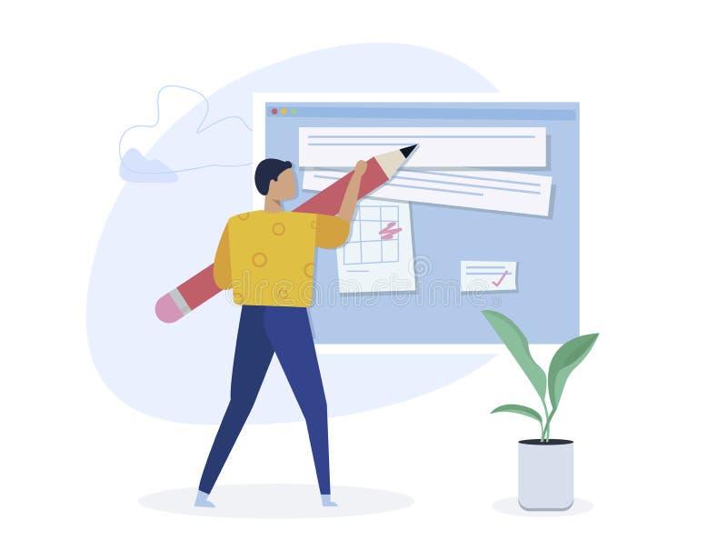 Copywriting, het creatieve schrijven die, inhoud tot concept leiden Bloggerkarakter Vlakke isometrische vectordieillustratie op w stock illustratie
