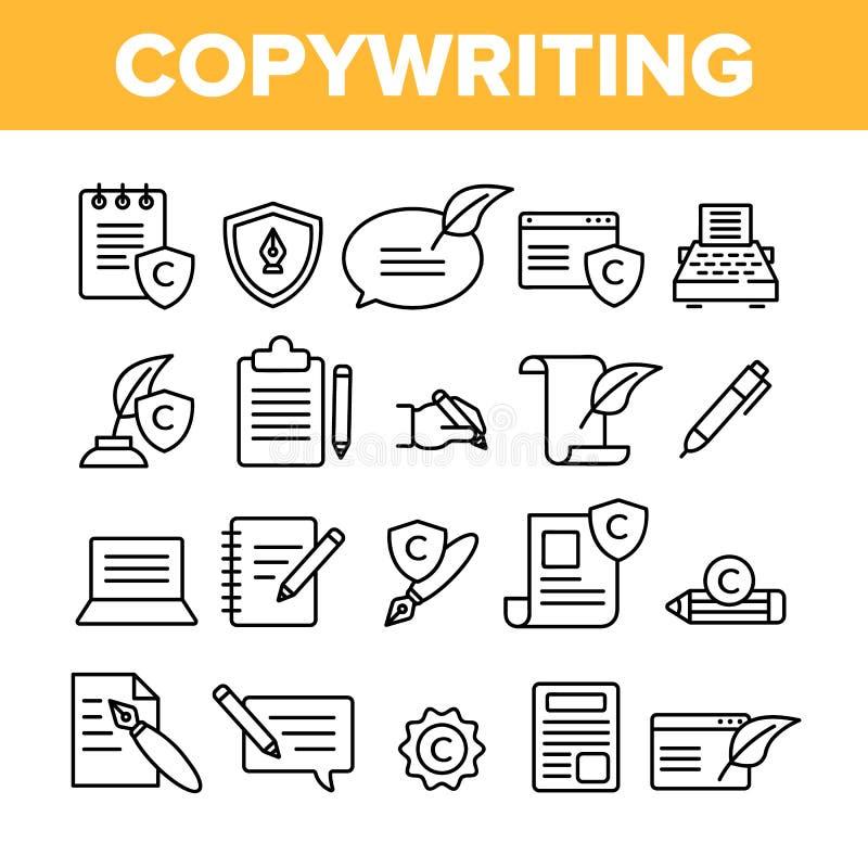 Copywriting i Blogging Wektorowe Liniowe ikony Ustawiający royalty ilustracja