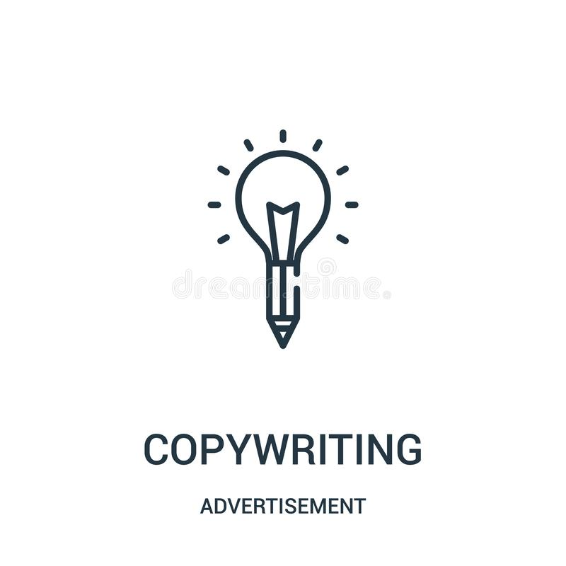 copywriting icon vector from advertisement collection. Thin line copywriting outline icon vector illustration royalty free illustration