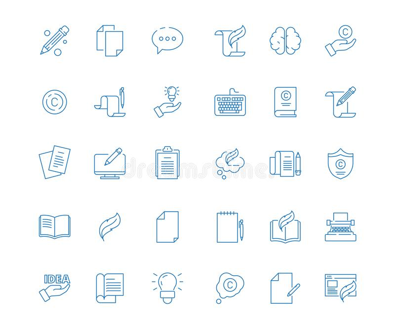 Copywriting icon. Write articles pen symbol content blog books vector linear pictures collection. Illustration copyright and linear icons blogging vector illustration