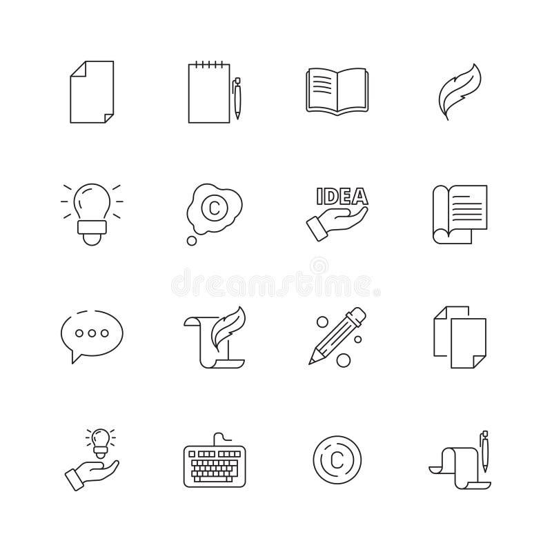 Copywriting-Ikone Bloggenden Verfassern der kreativen Artikelbuchstift-Symbole Vektor schreiben d?nne Linie Bilder lizenzfreie abbildung