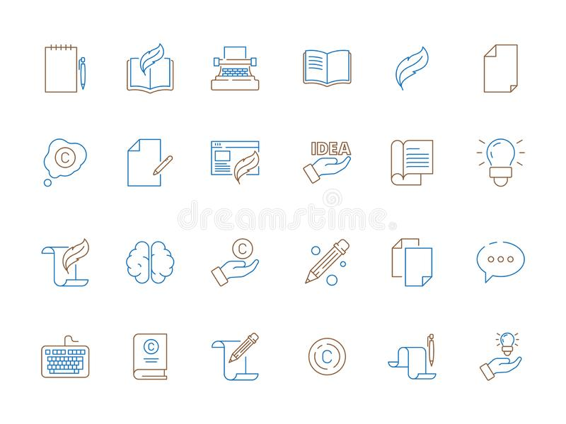 Copywriting-Ikone Werkzeuge f?r d?nne Linie des Verfasserartikelfederstiftzeitungsinhaltsbuch-Vektors f?rbten Symbole lizenzfreie abbildung