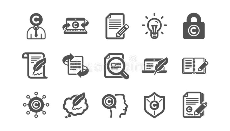 Copywriting-Ikonen Copyright, Schreibmaschine und Feedback Klassischer Ikonensatz Vektor vektor abbildung