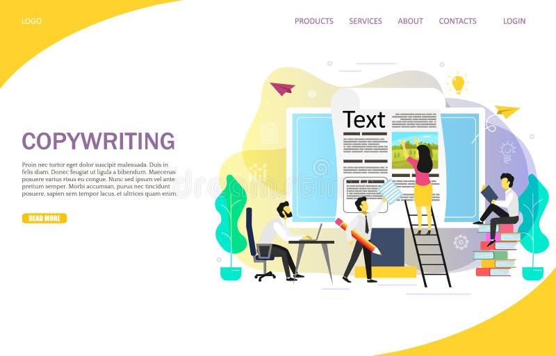 Copywriting blogging landing page website vector template stock illustration
