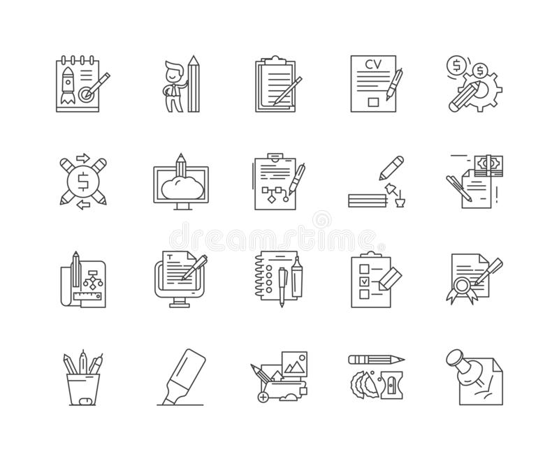 Copywriting line icons, signs, vector set, outline illustration concept vector illustration