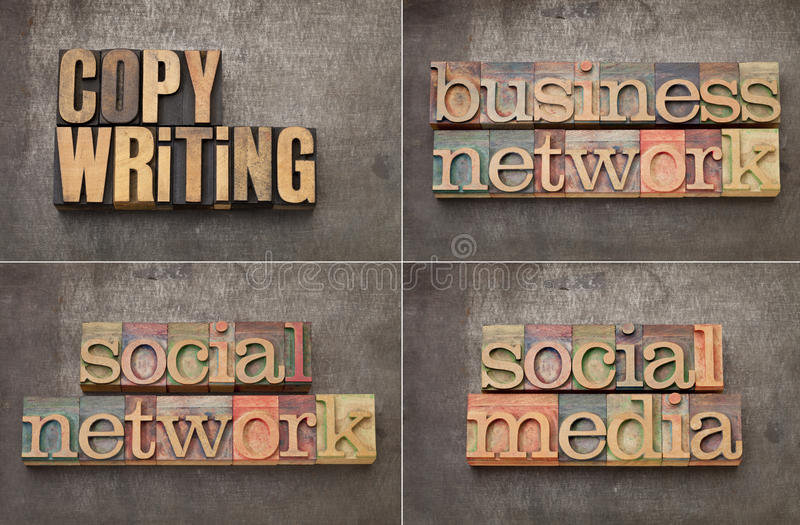Copywriting, networking and social media. Copywriting, business networking and social media - collage of text in vintage letterpress wood type on a grunge metal