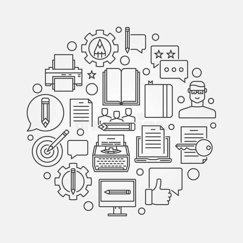 Copywriting och marknadsföringslinje illustration royaltyfri illustrationer