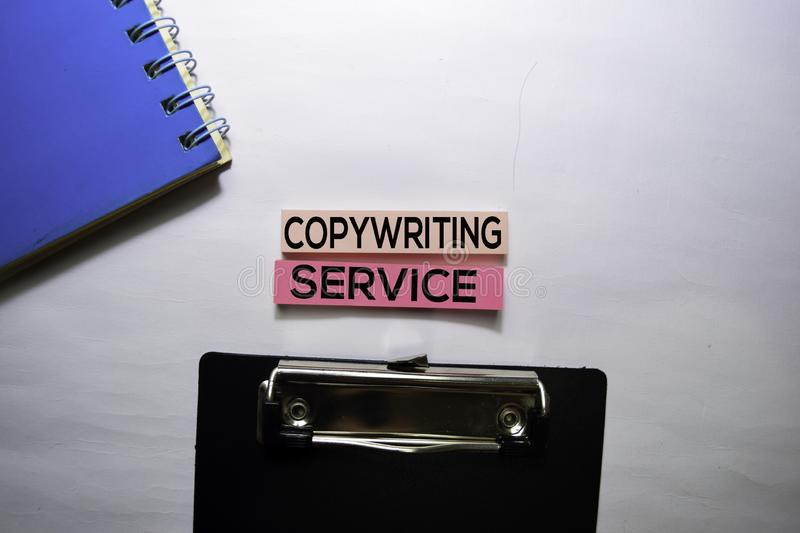 Copywriting services text on top view  on white background royalty free stock image