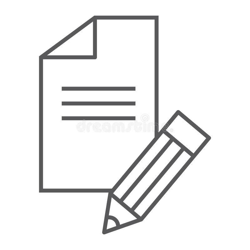 Copywriting thin line icon, blog and content, writer sign, vector graphics, a linear pattern on a white background. Copywriting thin line icon, blog and content royalty free illustration
