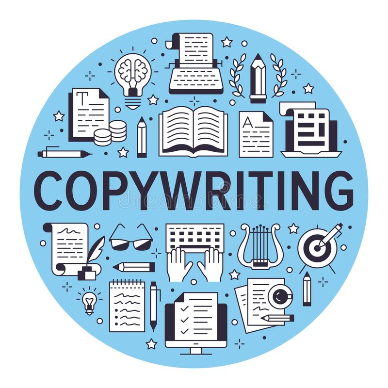 Copywriting vector circle banner flat line icons. Writer typing text, social media content, creative idea, typewriter. Illustrations. Thin signs storytelling royalty free illustration