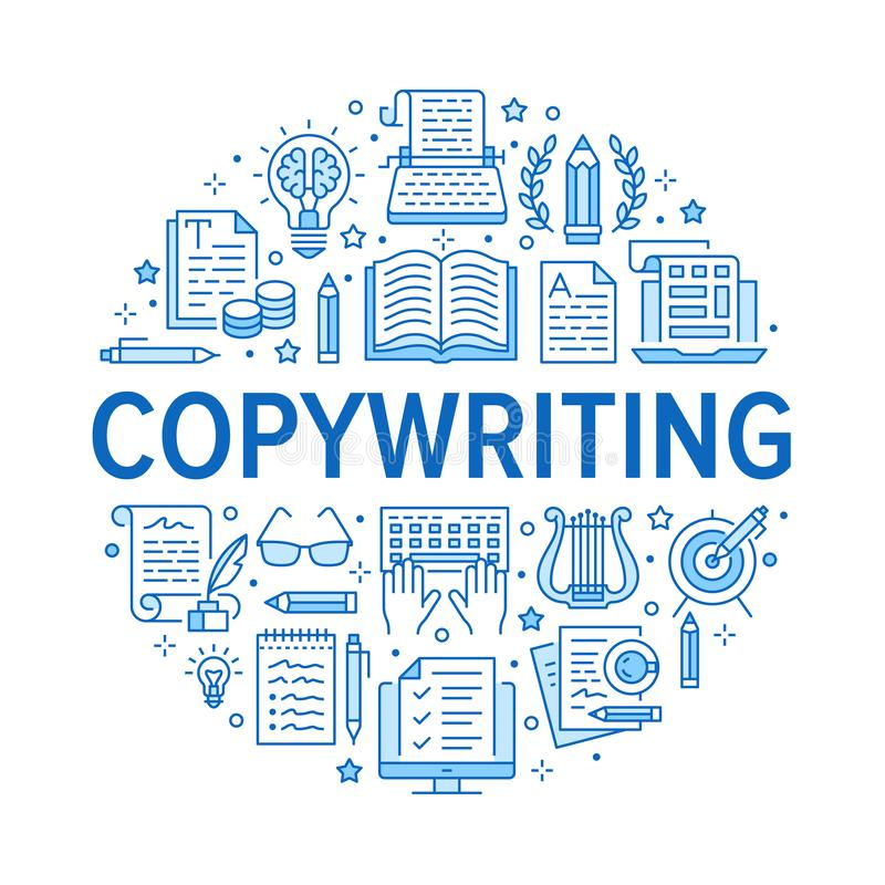 Copywriting vector circle banner flat line icons. Writer typing text, social media content, creative idea, typewriter. Illustrations. Thin signs storytelling stock illustration