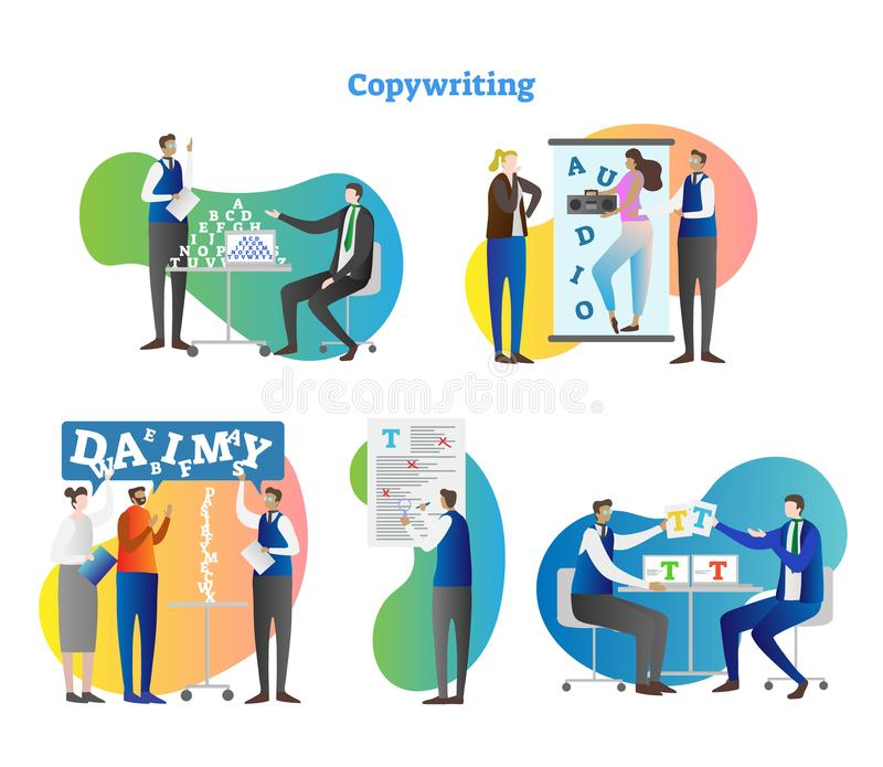 Copywriting vector illustration collection set. Creative work with freelance editor, author and marketing people for media or ad. vector illustration