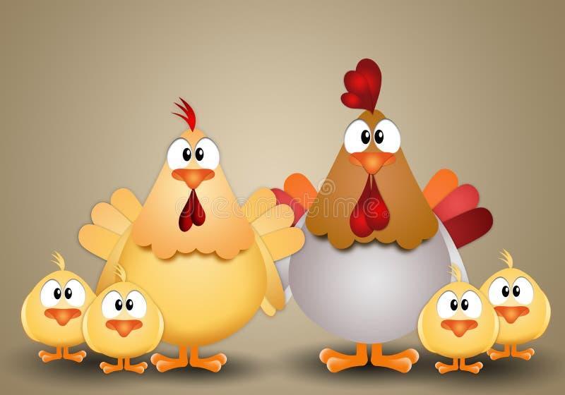 Coq avec la poule et les poussins illustration libre de droits