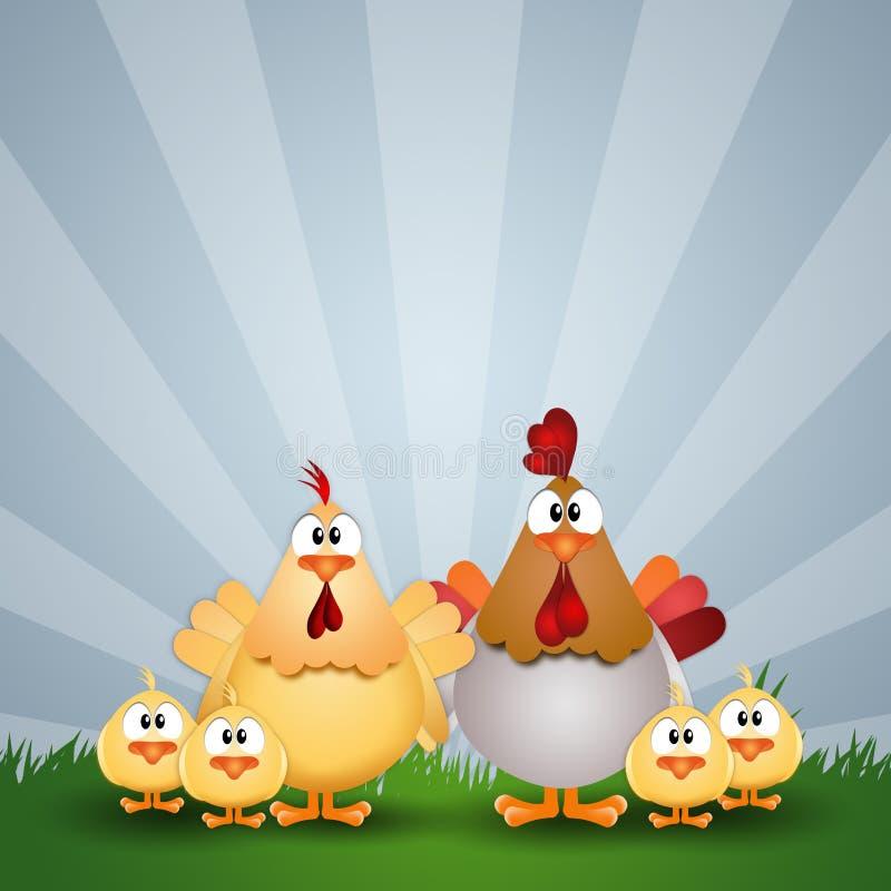 Coq avec la poule et les poussins illustration de vecteur