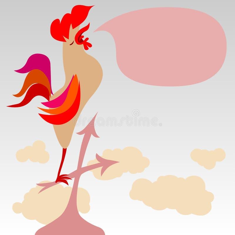 Coq chantant sur un toit illustration libre de droits