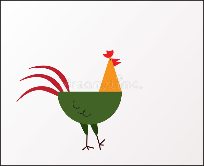 Coq coloré mignon et drôle de ferme, poulet, coq, jeune coq, illustration de vecteur de bande dessinée d'isolement sur le fond bl illustration de vecteur