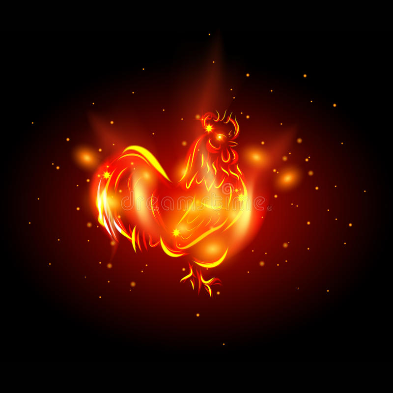 coq 2017 Coq du feu rouge - symbole de la nouvelle année 2017 dans le calendrier chinois illustration libre de droits