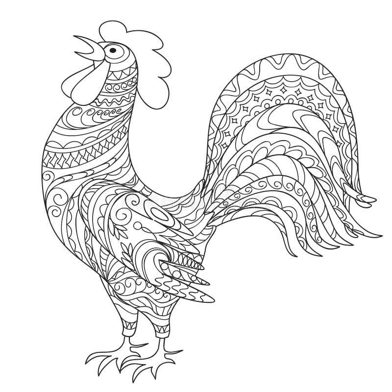 Coq décoré tiré par la main d'isolement illustration stock