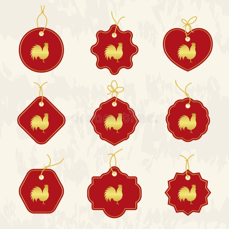 Coq décoratif Symbole chinois de nouvelle année de 2017 nouvelles années ensemble de référence des étiquettes Bon pour la carte d illustration stock