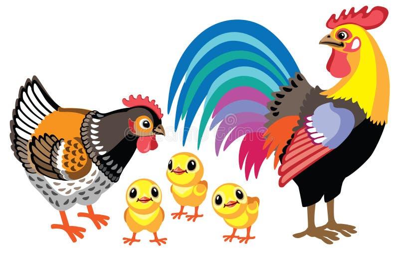 Coq de bande dessinée, poule et petits poulets illustration stock