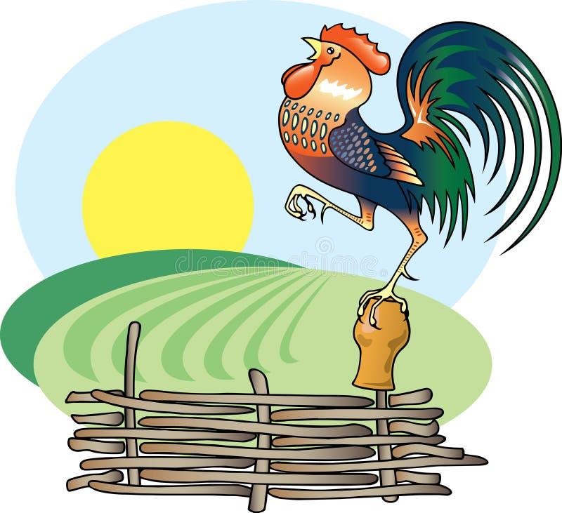 Coq et matin Sun de chant. illustration stock