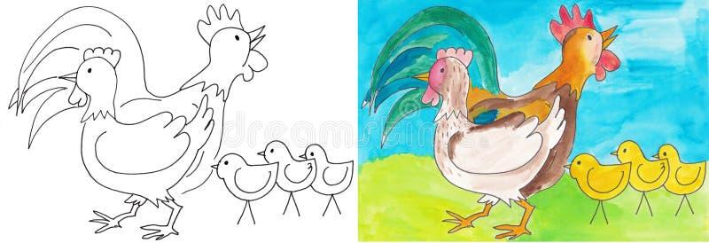 Coq et poule illustration de vecteur