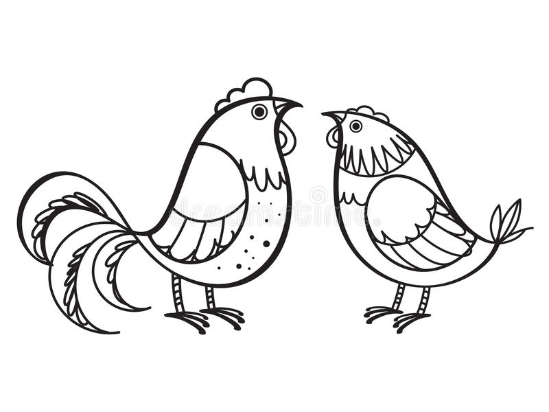 Coq et poule illustration stock