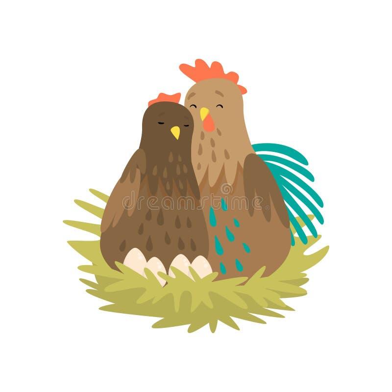 Coq et poule se reposant dans le nid avec des oeufs d'isolement sur le fond blanc illustration libre de droits