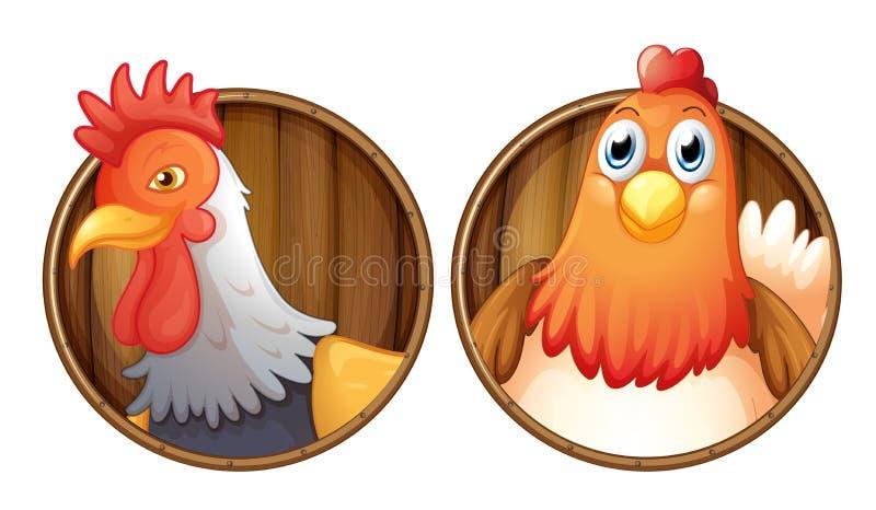 Coq et poule sur l'insigne en bois illustration stock