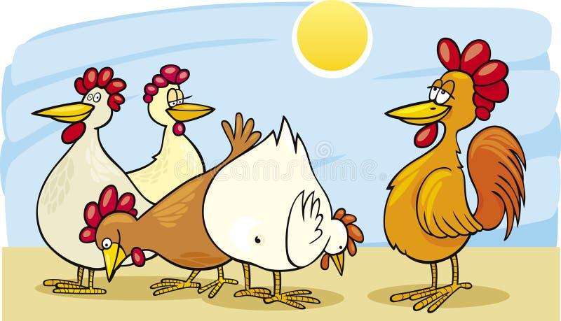 Coq et poules illustration libre de droits
