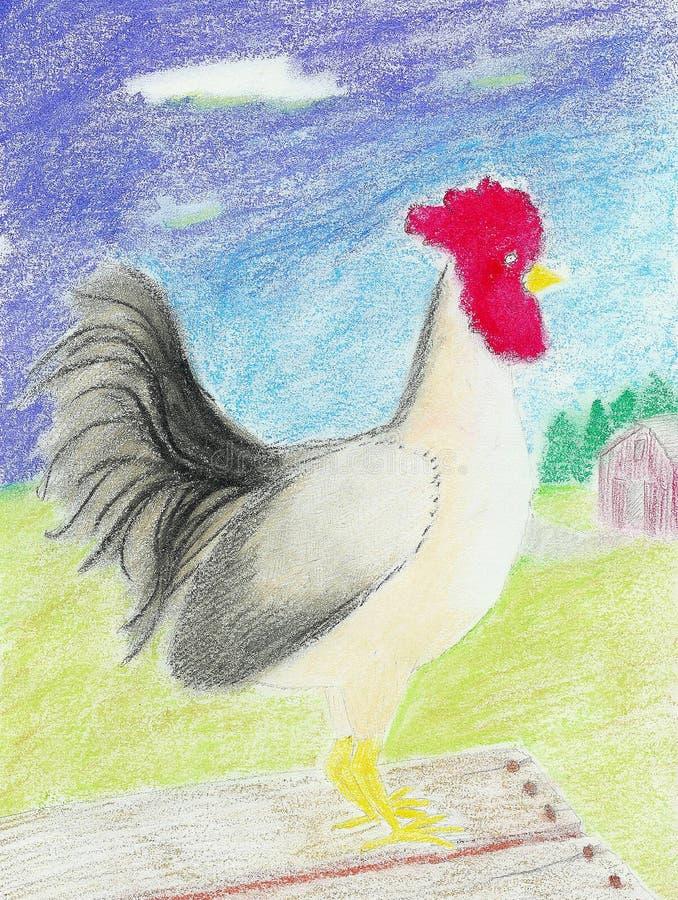 Coq folklorique blanc illustration de vecteur