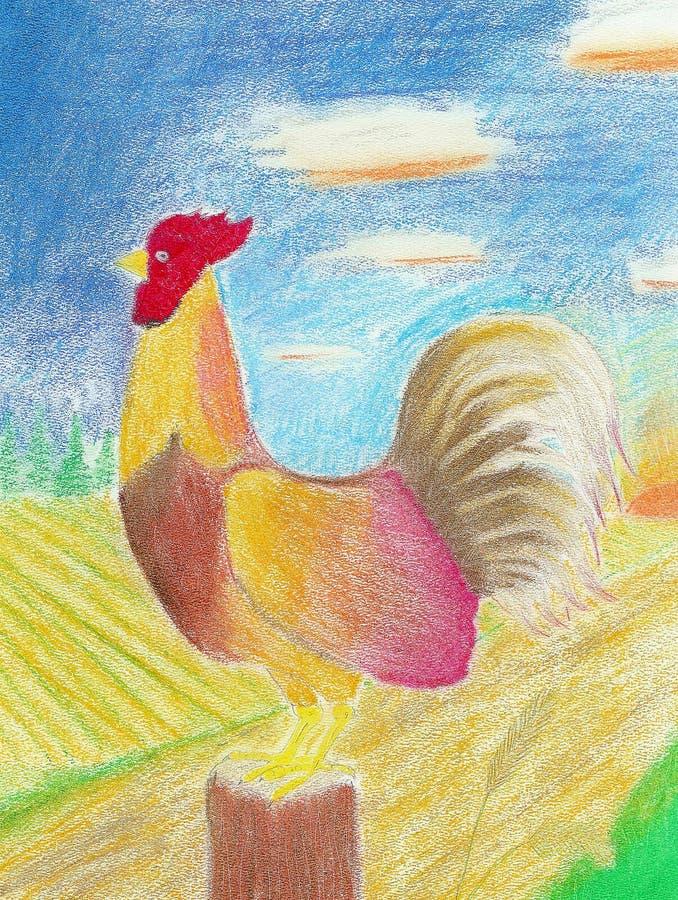 Coq folklorique rouge illustration de vecteur