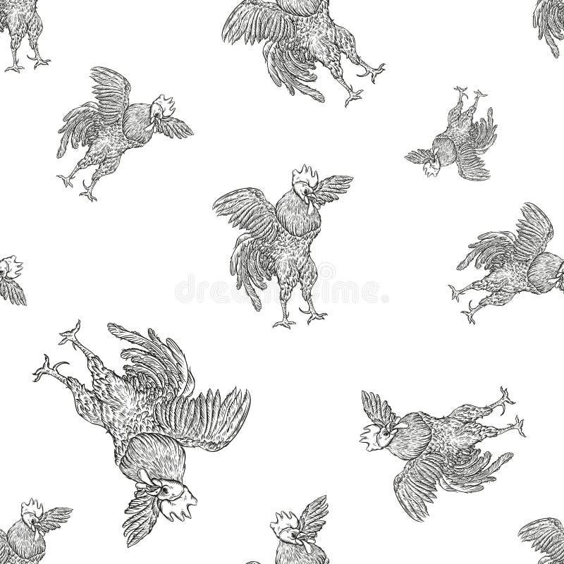 Coq Modèle sans couture de coq dans le style de gravure de vintage Fond grunge pour les fermes et la representation de fabricatio illustration de vecteur