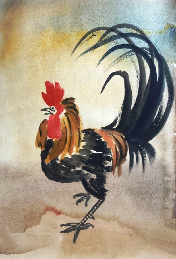 Coq noir avec les plumes rouges illustration de vecteur