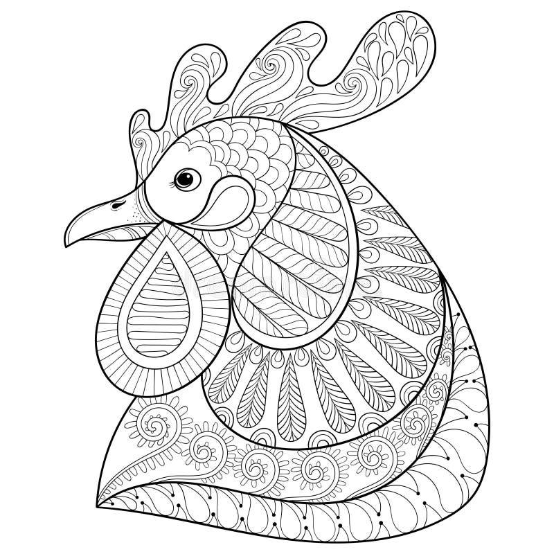 Coq ou coq de bande dessinée de Zentangle Croquis tiré par la main pour l'adulte c illustration libre de droits