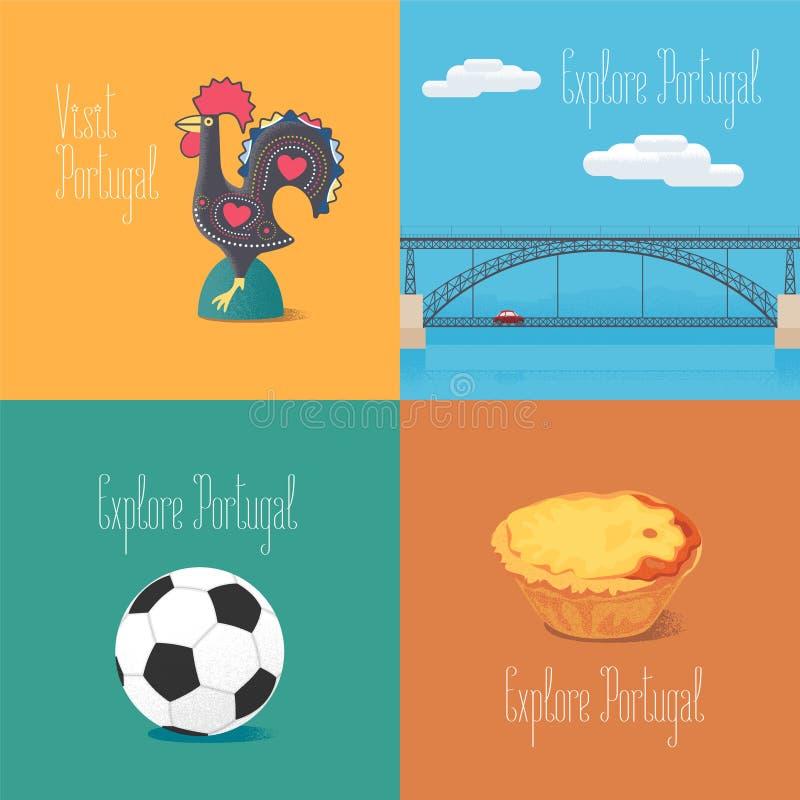 Coq portugais de Barcelos de symbole, le football, illustrations de vecteur de Dom Luis de pont illustration de vecteur