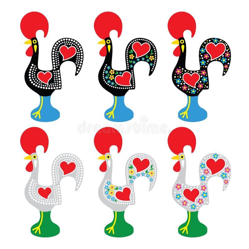 Coq portugais de Barcelos - icônes de Galo de Barcelos illustration libre de droits