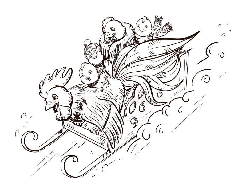 Coq, poule et poulets illustration libre de droits