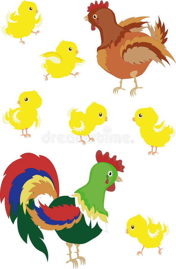 Coq, poule, nanas illustration stock