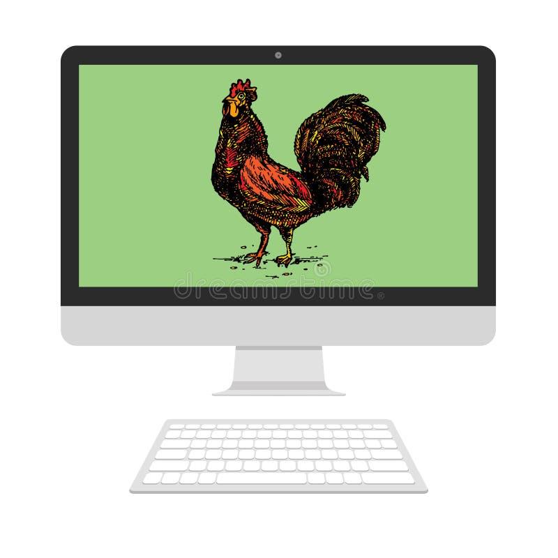 Coq sur l'écran illustration libre de droits