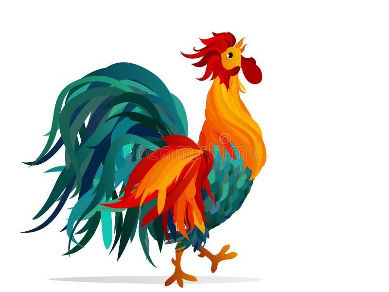 Coq Vecteur Arc-en-ciel coloré Symbole 2017 cockerel illustration de vecteur