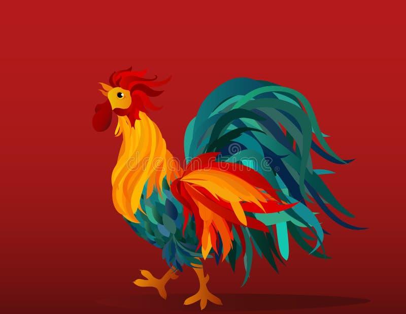 Coq Vecteur Arc-en-ciel coloré Symbole 2017 cockerel illustration libre de droits