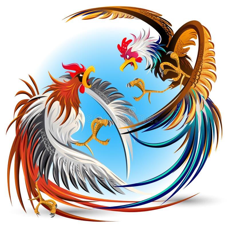 Coqs de combat de combat de coqs illustration libre de droits