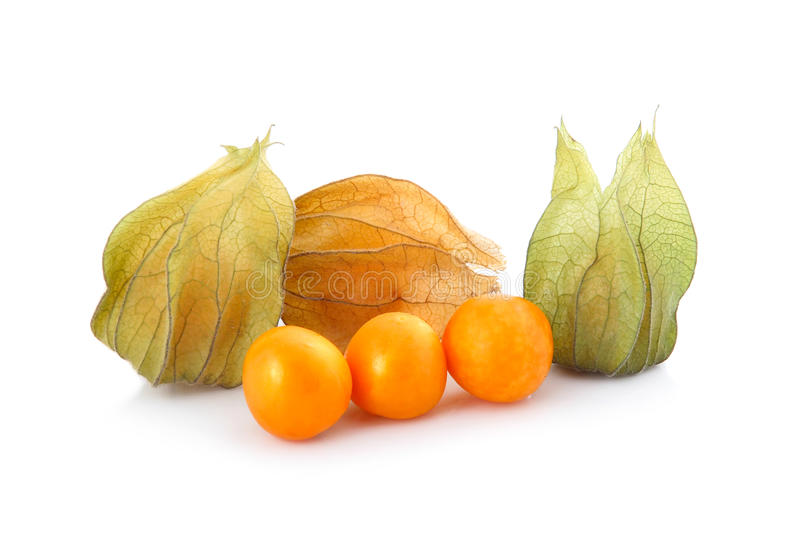 Coqueret comestible (physalis) d'isolement photos stock