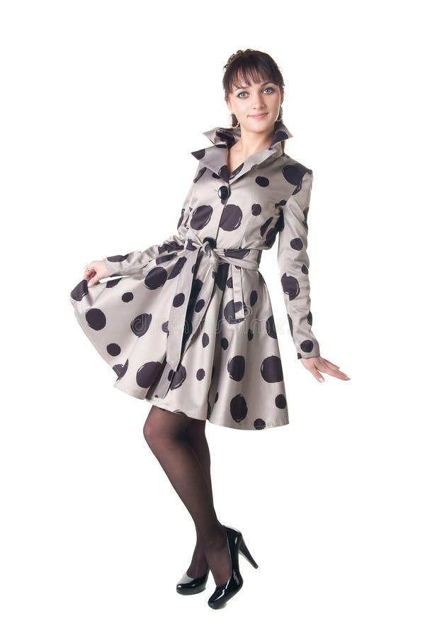 Coquette alegre no vestido retro do estilo. imagem de stock