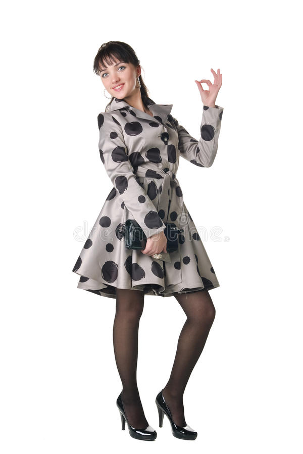 Coquette alegre no vestido retro do estilo. imagens de stock royalty free