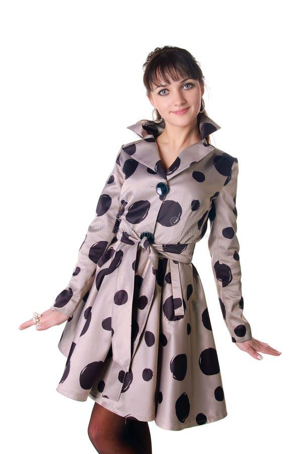 Coquette alegre no vestido retro do estilo. foto de stock royalty free