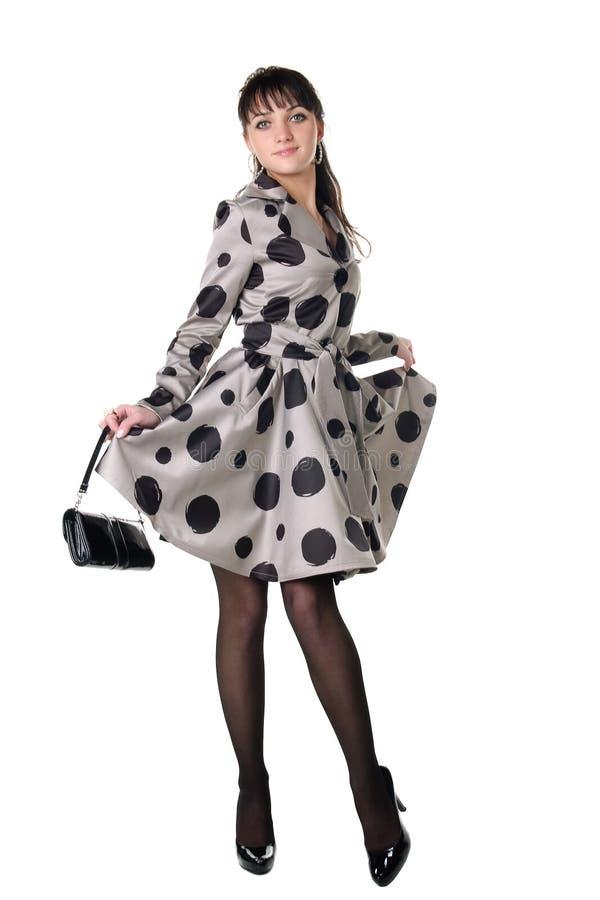 Coquette alegre no vestido retro do estilo. fotografia de stock royalty free