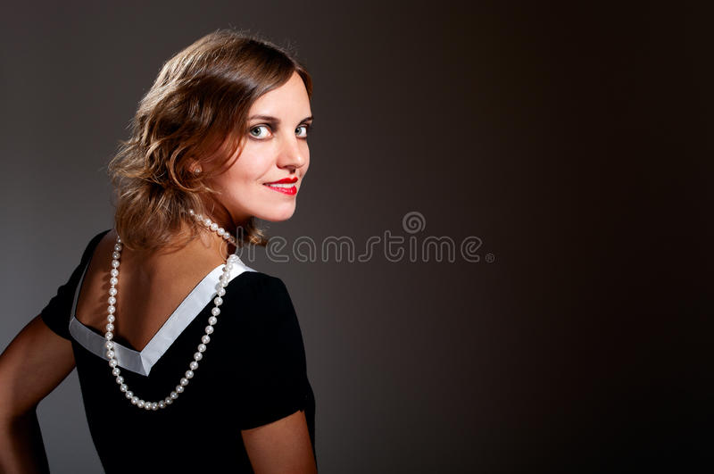 Download Coquette Retro Woman In Pearls Stock Image - Image: 21810803