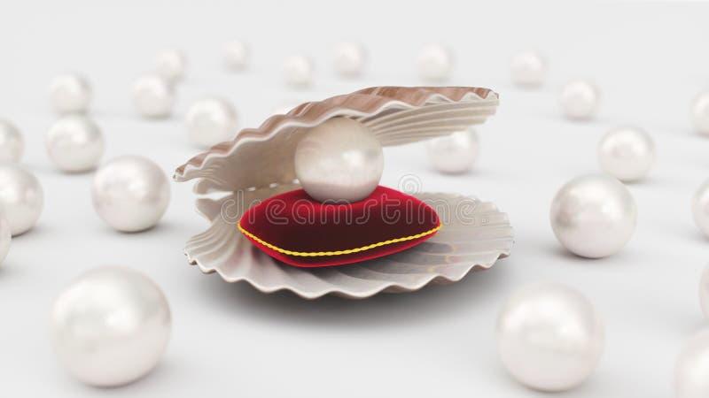 Coquillage avec des perles à l'intérieur sur l'oreiller rouge de velours Gemmes, les bijoux des femmes, perles de nacre Pour votr illustration stock